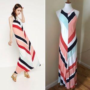 NEW Zara Striped Chevron Maxi Dress